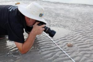 Kevin was always ready to get as close as possible for the perfect photo - Seagrass monitoring in Roebuck Bay