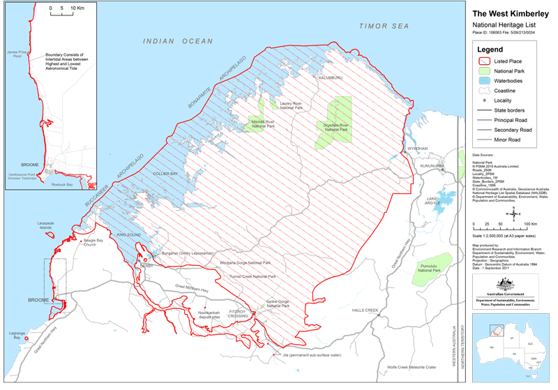 Map of the area covered by the West Kimberley National Heritage List
