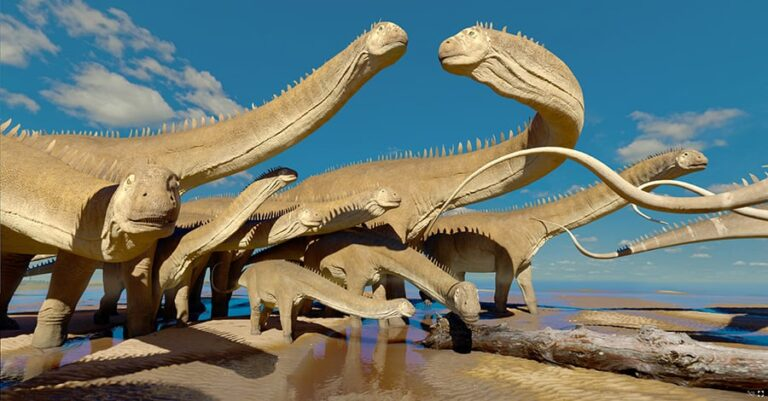 3D rendered coastal scene showing sauropods