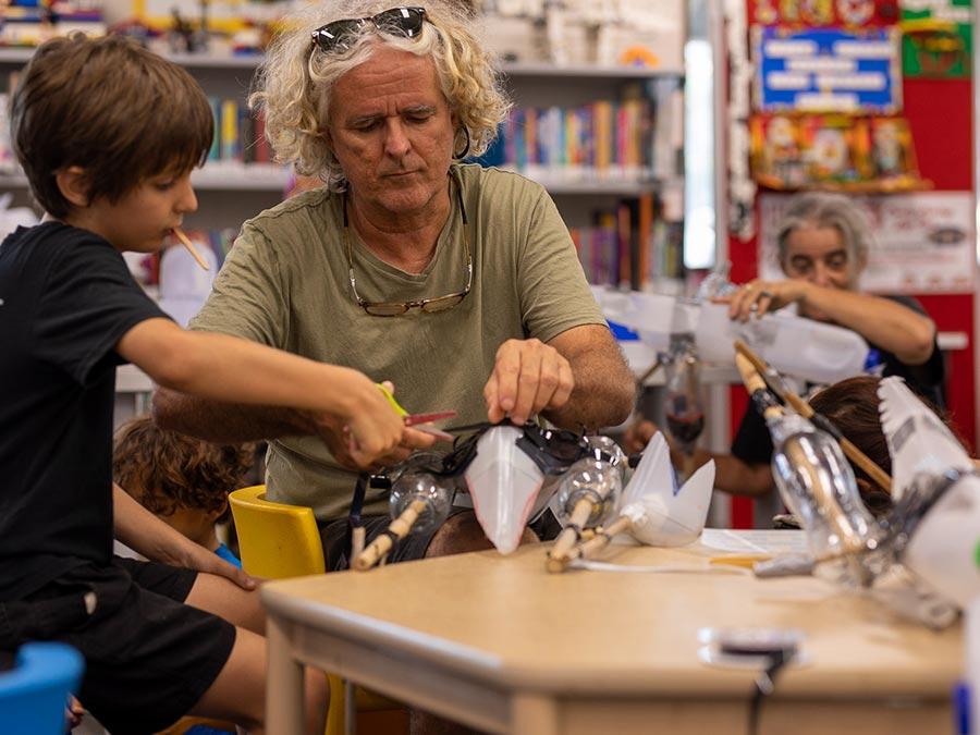 Dinosaur puppet making workshop for kids - photo credit Philip Thompson